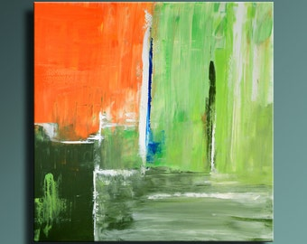 "36"" ORIGINAL ABSTRACT Green Orange Blue Painting on Canvas Contemporary Abstract Modern Art wall decor - Unstretched - SQ14"