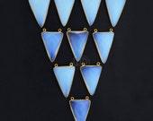 White Opal Chalcedony, Bezel Trillion Shape Connector, 22x34mm Trillion 24K Gold Plated, Cat Bail 1pc.(WO-10264)