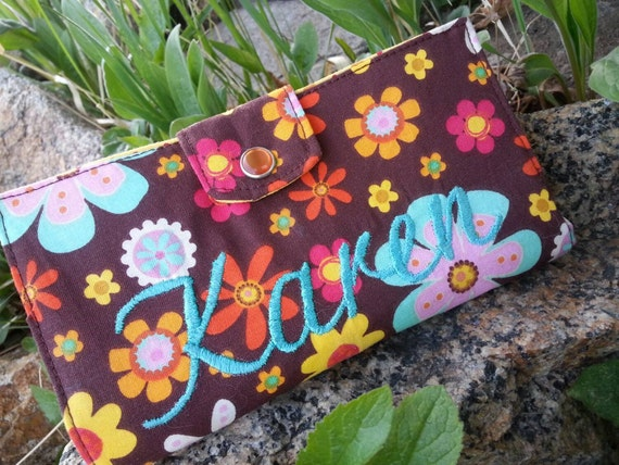 Personalized  Floral  Checkbook Cover