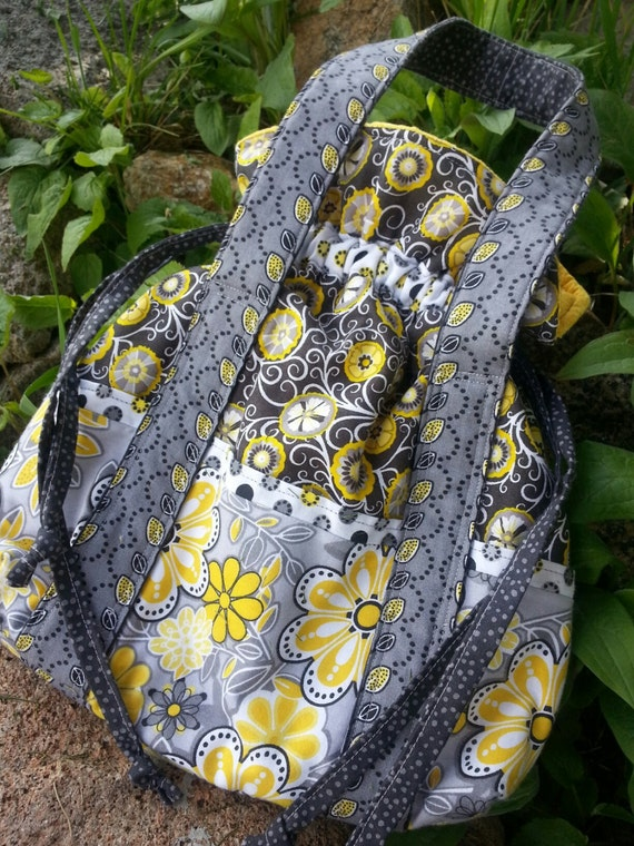 Yellow, Grey & White Floral Drawstring Purse with Pockets