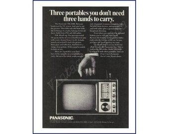 Panasonic Portable Television AM FM Radio Original 1968 Vintage Black & White Print Ad - Man's Hand Holding Handle of TV