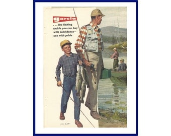 """GARCIA FISHING RODS - Original 1965 Vintage Color Ad -  Product Line with Prices """"if It's A Garcia Rod, You Know It's The Best You Can Own"""""""