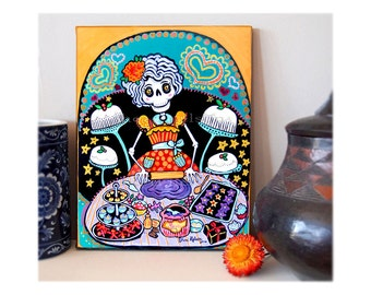 Day of the Dead Kitchen Catrina Canvas Art Print Mexican Folk Art Wall Art Cooking baking giclee Colorful Rockabilly Retro Skeleton Print