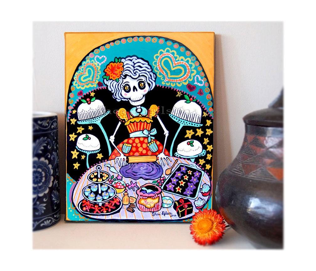 Kitchen Folk Art: Day Of The Dead Kitchen Catrina Canvas Art Print Mexican Folk