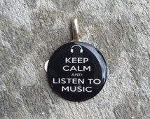 """Sale! Black """"Keep Calm and Listen to Music"""" Pendant"""