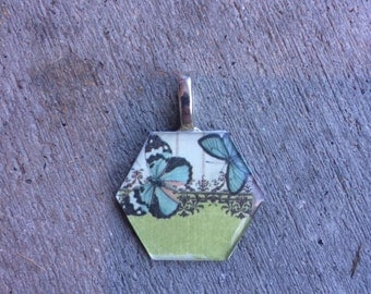 Hexagonal Blue and Green Butterfly Pendant Necklace