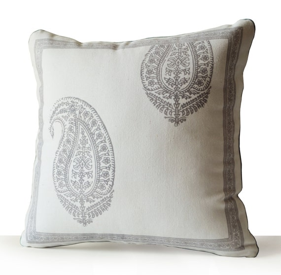 How To Make A Decorative Pillow With Piping : Decorative Throw Pillow with Piping Ivory Cotton Grey Paisley