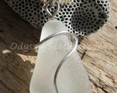 Snow White Sea Glass Necklace Pendant - Odyssey Sea Glass Jewelry - Silver Wire Wrap LJ0003