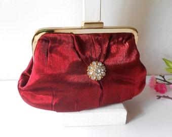 Red Evening Bag Red Jewel Tone Handbag with Rhinestone Trim EB-0475