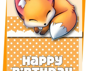 Fox Birthday cards ready to print, blank inside, can be customised to your liking
