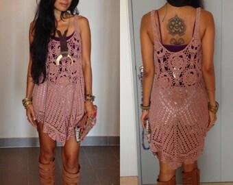 Handmade Crochet Tunic Dress Boho Dress/ hippie dress Colors Olive Green, Blush, Gold,Brown