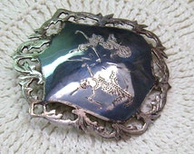 Vintage SIAM Brooch...Sterling Silver...Niello Siam Brooch...Two Dancers...Detailed Sterling Border...SIAM Jewelry