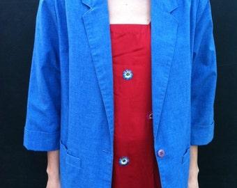 SALE Cool Vintage Blue Denim Cotton Blazer Jacket Size L