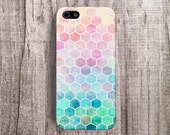 iPhone 6 case Hexagon Cell Phone Case iPhone 5 Case Pastel Hexagon iPhone 4 case Bohemian iPhone case Stylish iPhone Case Pastel Pink
