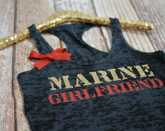 Marine Girlfriend Wifey Tank Top Shirt. Marines. Military Navy, Army, Coast Guard, Air Force. Burnout Tank Top.