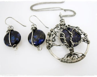 Tree of Life Necklace and Earring Set - Antiqued Sterling Silver with Lapis Lazuli
