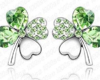 Green four leaf clover earrings