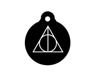 DEATHLY HALLOWS HARRY Potter Symbol Magic Dog Tag Pet Id Tag Engraved 20 Fonts Available Personalized Charm Key Ring