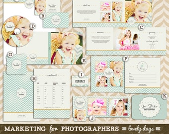 Photography Marketing Templates Set for Photographers Pre Made Branding INSTANT DOWNLOAD