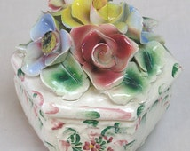 Vintage Covered Dresser Trinket Box Made in Italy Big Capodimonte Flowers on Lid / Handpainted Porcelain Dresser Box