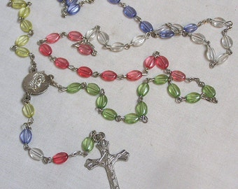 Lovely Catholic Rosary with Pastel Glass Beads of Pink Yellow Blue Green