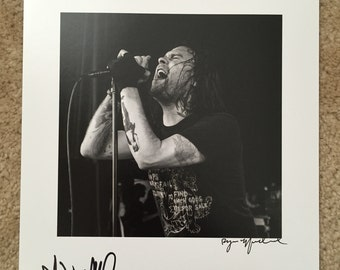"8x10"" print of Bert McCracken of the Used. Signed by both Bert and Ryan."