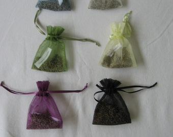 Organic Lavender Sachets With Satin Ribbon