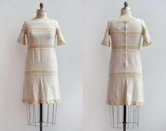 Olive Branch Dress / 1960s lace shift dress / vintage crochet lace boho dress