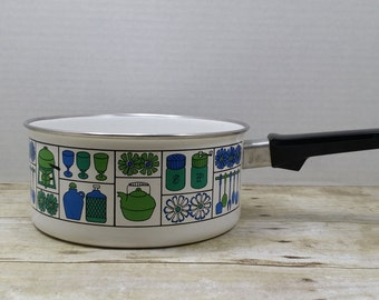 RESERVED Mid Century Pot, cooking pot, green and blue, 1960s, vintage kitchen