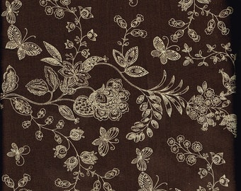 Quilt / Quilting Fabric Butterflies and Flowers on Brown Top / High Quality Fabric By The Yard