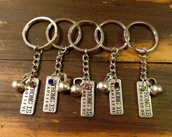 Kettlebell Strong Is Beautiful CrossFit Charm Keychain
