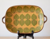 Dybdahl Denmark - big tray - size 2 - leaf decor - yellow green - 1970 - midcentury - collectible
