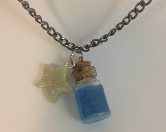 Cute Glow in the Dark Bottle & Star Necklace