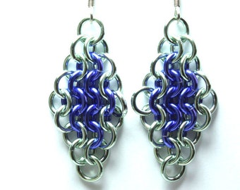 Chainmaille Earrings   Hand Crafted Chainmaille Jewelry   Handmade Earrings   Purple and Sea Foam   Anodized Aluminum