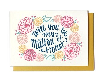 Will You Be My Matron of Honor Card - GOLD - Bridal Party Card - Ask Matron of Honor