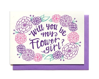 Will You Be My Flower Girl Card  - Purple - Bridal Party Request Card - Ask Flower Girl