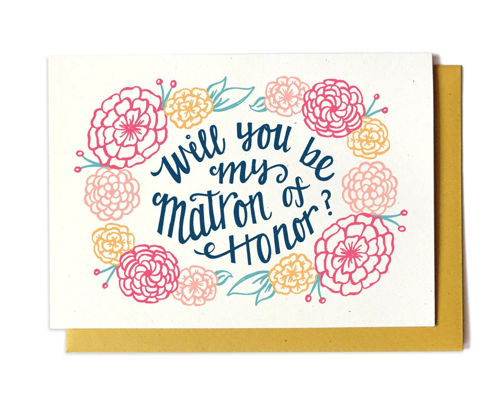 Will You Be My Matron Of Honor Card GOLD Bridal Party Card