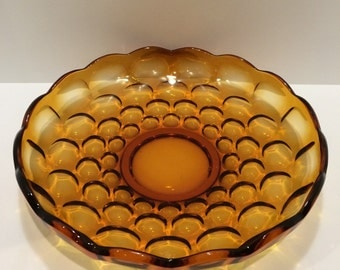 Vintage Mod Amber Glass Serving Platter