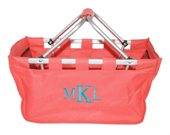 Monogram Personalized Coral Large Market Tote Utility | Toy | Beach | Picnic | Diaper Caddy | Nursery | Trunk Organizer Collapsible Basket