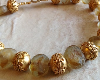 African Amber Glass Beads And Gold Vermeil Silver Beads Necklace