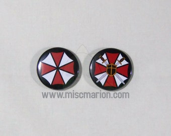 Resident Evil Umbrella Corporation Buttons, Magnets or Keychains 1.5 Inches