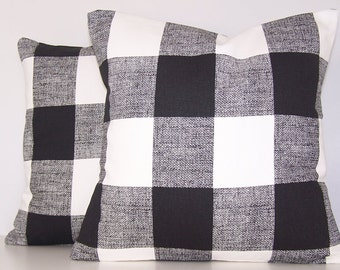 TWO Black Buffalo Check Pillow Cover, Toss Pillow, Black Buffalo Check, Euro Pillow, Sham, Lumbar,Throw Pillow,Bedding,Various Sizes