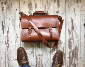 Briefcase // Urban Messenger Bag //Handstitched Leather Bag