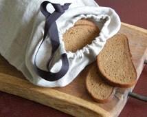 Linen storage bag, organic linen bread bag with black cotton ribbon, organic food storage, raw linen bag, grey flax bag, organic bread bag