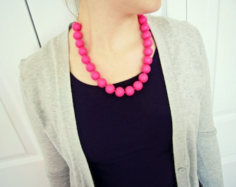 Hot Pink Beaded Necklace -  Pink Clay Jewelry, Bright Pink, Round Bead, 16 in., 20 in., READY TO SHIP