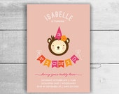 Teddy Bears Picnic Invitation for girl, 1st 2nd 3rd 4th 5th birthday - kids party invites in pdf printable