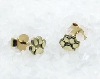 14K gold paw stud earrings,14K gold cats & dogs earrings , tiny 14k gold stud