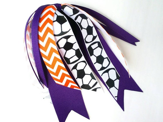 Purple and orange soccer hair streamers by ...