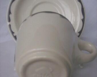 Buffalo China Grey Wave Cup and Saucer Ironstone Railroad Restaurant Ware