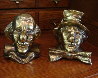 Vintage Brass CLOWN Bookends PM Craftsman Happy & Sad
